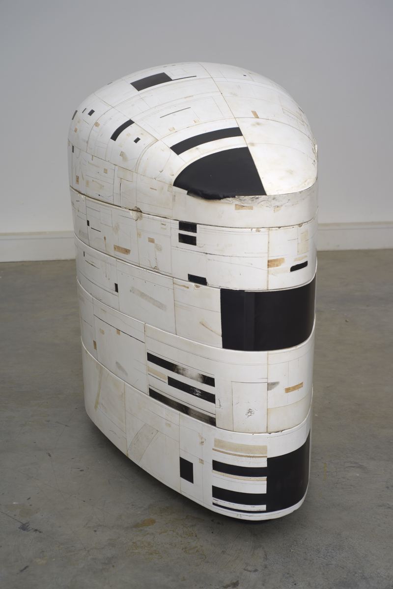 #63, 2006-10, 45 x 40 x 24 inches, burlap, enamel, oil, resin, tar, wax and wood