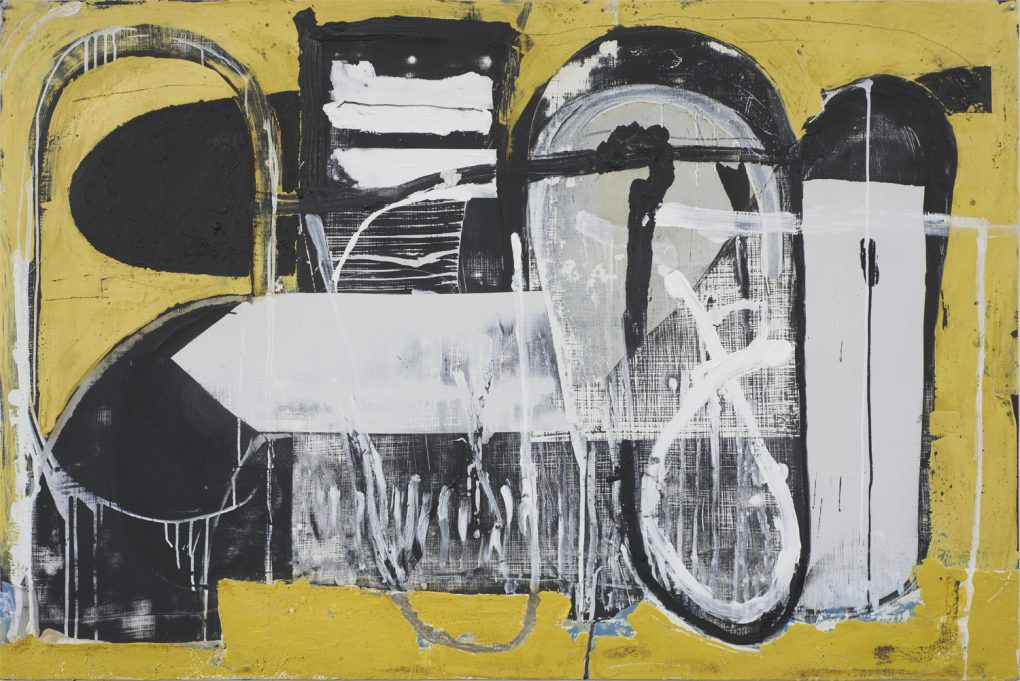 "Untitled painting 011, 60"" x 40"", acrylic, charcoal, enamel, oil, 2015"